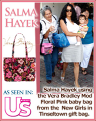 Salma Hayek using the Vera Bradley Mod Floral Pink baby bag from the  New Girls in Tinseltown gift bag